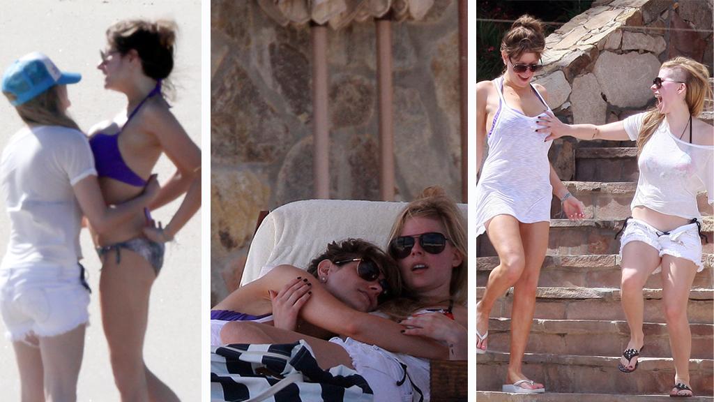 STRANDKOS: Avril og venninnen så ut til å kose seg på ferie i Cabo San Lucas, Mexico.