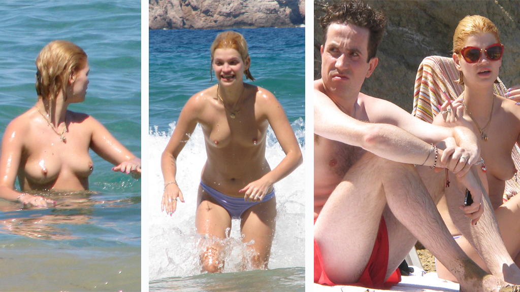 TOPPLØS: Pixie Geldof ser ut til å storkose seg på ferieøyen Ibiza.