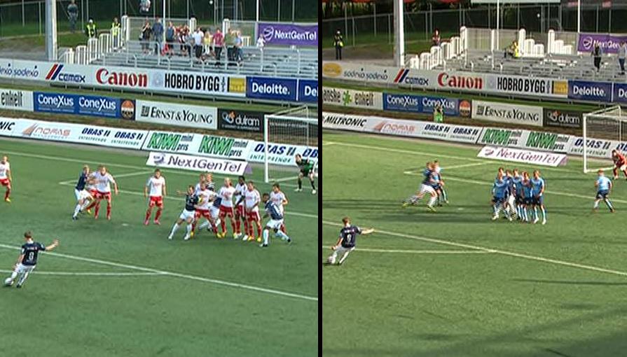 Til venstre er Stefan Johansens frisparkmål mot Fredrikstad 27. juli. Målet er en blåkopåi av  scoringen han hadde mot Sandnes Ulf 16. juli.  (Foto: MONTASJE)