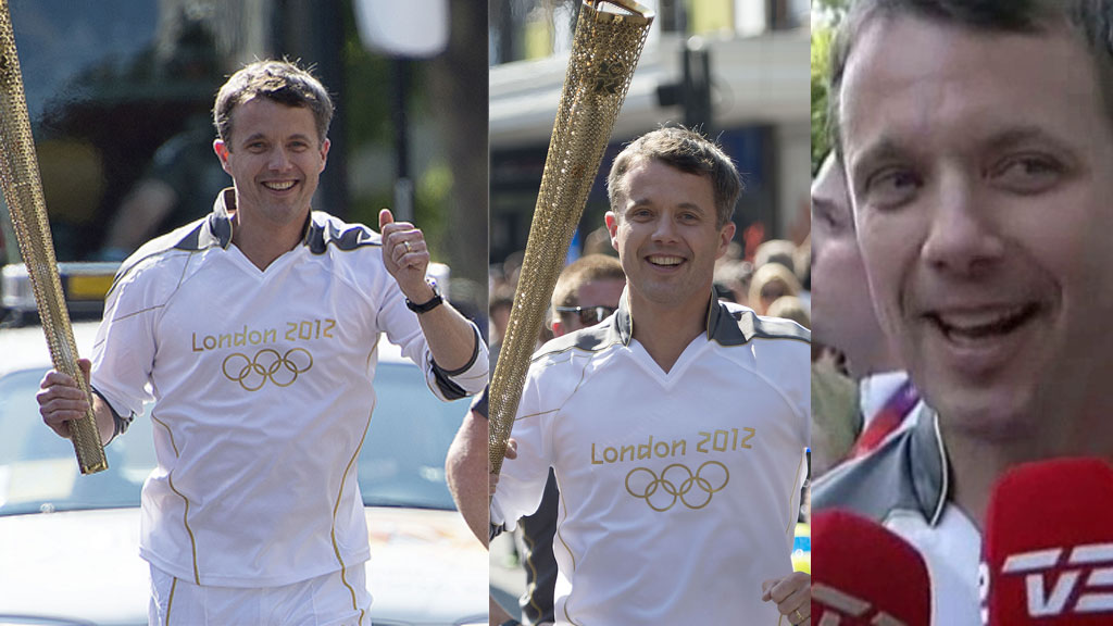 LØP MED ILDEN: Kronprins Frederik løp en etappe med den OL-ilden.