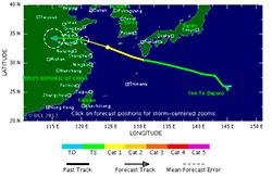 DAMREY: Den tropiske syklonen vil nå land nord for Shanghai i løpet av torsdag. (Foto: TSR)