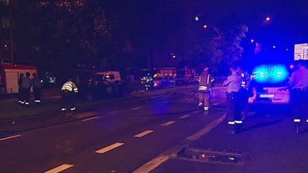 ALVORLIG: Alle de involverte var menn i 20-årene. Tre er alvorlig skadd etter ulykken i Kirkeveien på Majorstua.  (Foto: TV 2)