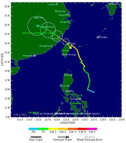 SAOLA: Den tropiske syklonen ventes å nå land sør for Shanghai i løpet av fredag. (Foto: TSR)