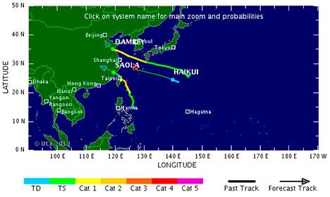 NÅDD LAND: Tyfonene Damrey og Saola har nådd kinesisk jord nord og sør for Shanghai. (Foto: TSR)