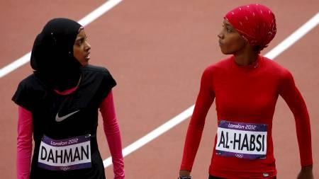 Shinoona Salah al-Habsi, Oman og Fatima Sulaiman Dahman, Yemen (Foto: DAVID GRAY/Reuters)