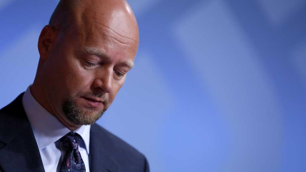Yngve Slyngstad, leder av Norges Bank Investment Management (NBIM), forvalter av Statens pensjonsfond utland, presenterer tallene for andre kvartal 2012 fredag (Foto: NTB/Scanpix)