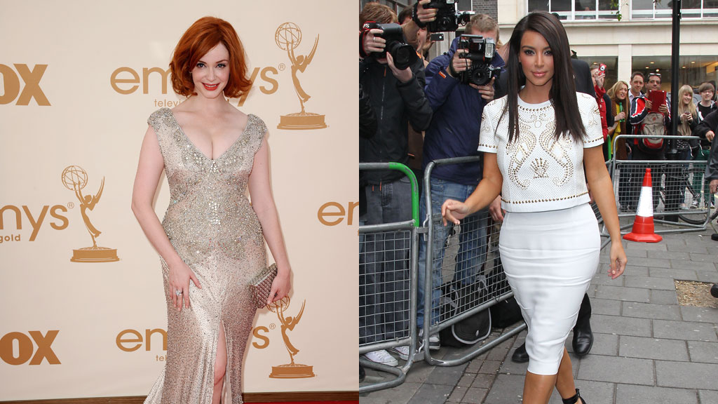 Superstjernene Christina Hendricks og Kim Kardashian er kjent for sine former.