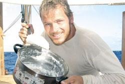 Torgeir Higraff på vei over Stillehavet med Tangaroa. (Foto: Tangaroa)