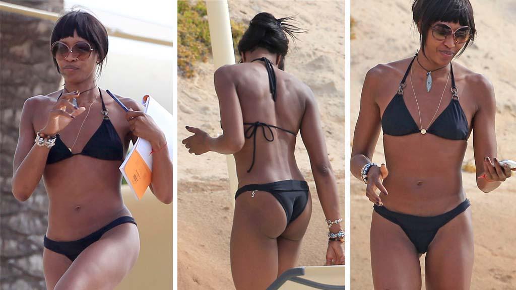 VELTRENT: feriebilder fra Ibiza viser at den britiske supermodellen (42) holder seg svært godt.