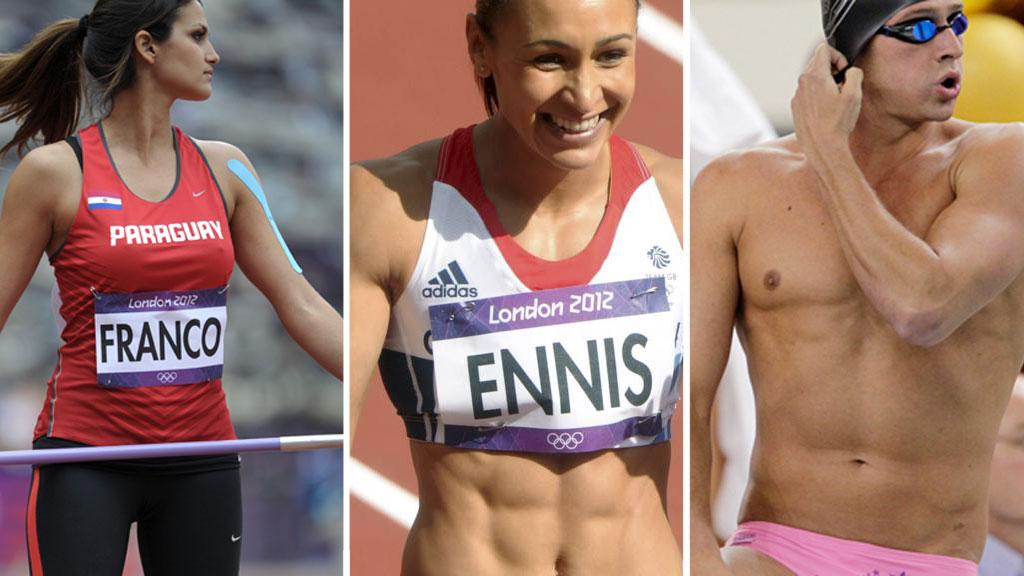 SEXSYMBOL: Verken Leryn Franco, Jessica Ennis eller Ryan Lochte trenger å vinne en medalje for å bli lagt merke til under OL...  (Foto: Montasje)