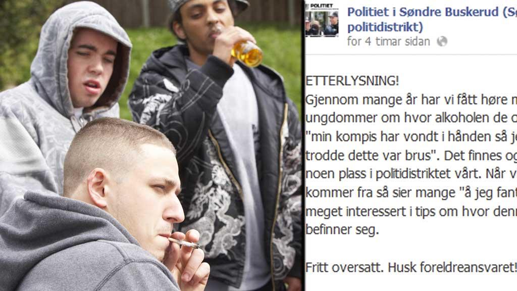 LEI: Politiet i Søndre Buskerud er lei fulle ngdommar og foreldre som ikkje tek ansvar. (Foto: Colourbox/Politiet)