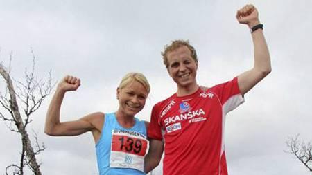 SJEFER I BAKKENE: May Britt Buer og Thorbjørn Thorsen Ludvigsen vant både årets motbakkecup og NM da TV 2 Rosendal Nuten Opp ble arrangert i helga. (Foto: Storehaugen Opp/Lærdal IL/)