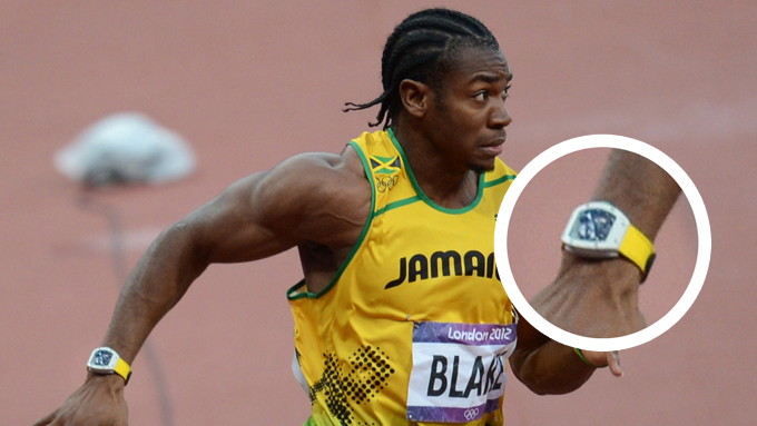 SPESIALDESIGNET KLOKKE: Her er klokken som Yohan Blake brukte i semifinalen på 100 meter for menn.