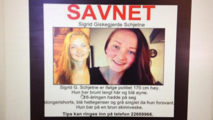 SAVNET:Sigrid Giskegjerde Schjetne har vært savnet siden søndag 5. august. (Foto: TV 2)