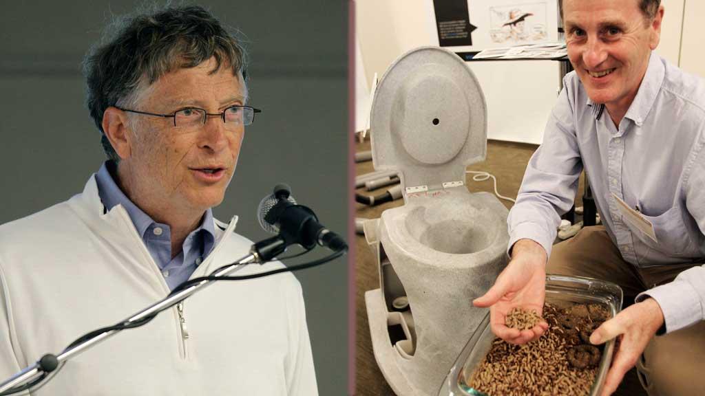 """SATSER PÅ DASS: Bill Gates (t.v) og hans kone satser nå på å gjennoppfinne toalettet. Til høyre er Walter Gibson som viser frem larvene som skal """"drive"""" toalettet.  (Foto: Ap/Reuters)"""