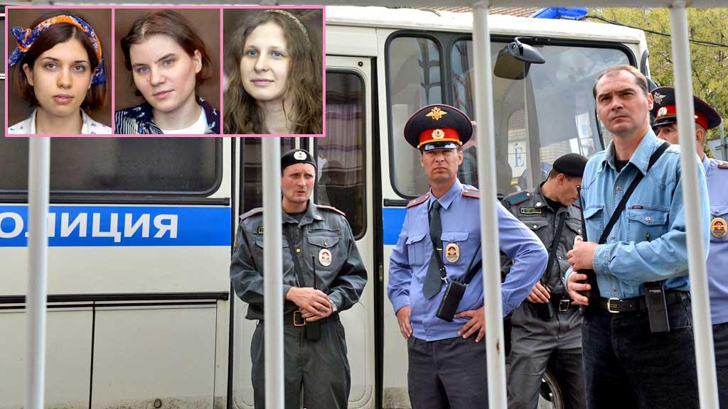 Russisk politi og Pussy Riot (Foto: AP/AFP montasje: TV 2)