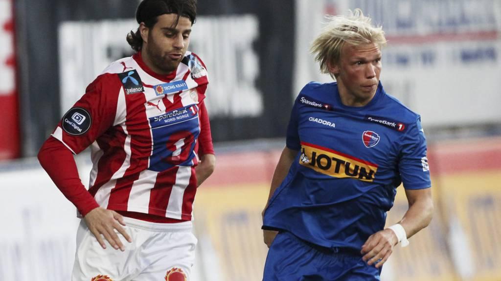 Alexander Gabrielsen (til høyre) spiller ikke kveldens kamp mot Molde. Gabrielsen, fem andre spillere og fem personer i klubbens administrasjon er nemlig blitt matforgiftet. (Foto: Teigen, Trond Reidar/NTB scanpix)