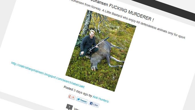 HENGT UT: Ola Kristian Johansens bilder er brukt på en blogg som er opprettet for å æreskjelle lokalpolitikeren fra Snåsa. (Foto: Skjermdump)