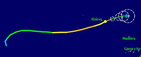 Gordon svekkes nå raskt, og går i oppløsning. Grønt viser storm, blått lavtrykk. Sirklene indikerer usikkerheten i prognosen. (Foto: TSR)