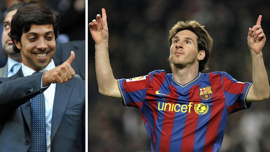 LA INN BUD PÅ MESSI: Representantene til Citys styrtrike eier, sjeik Mansour (t.v.), misforsto hverandre og la inn et skambud på Barcelona-stjernen Lionel Messi i 2009, avslører ny bok. (Foto: Scanpix (montasje))