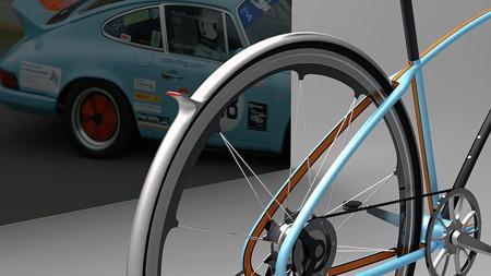 Mange detaljer er tatt med i det tilsynelatende minimalistiske og tidløse designet. Blant annet er det nok den første tråsykkelen vi har sett med hekkspoiler. (Foto: davidschultz-id.com)