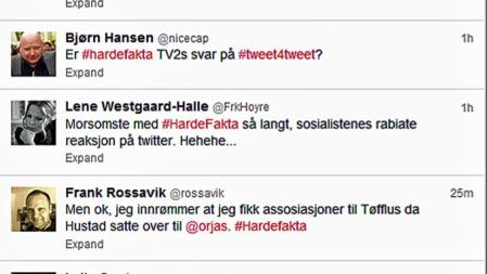 HEFTIG TVITRING: TV 2s nye debattprogram «Harde fakta» fikk tastaturene til å gå varm i de norske hjem onsdag kveld. Her er bare et bittelite utvalg av kommentarene som ble lagt ut på Twitter. (Foto: Skjermdump, Twitter)
