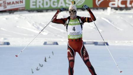 Ole Einar Bjørndalen verdenscupseier kontiolahti februar. (Foto: Ulander, Markku/NTB scanpix)