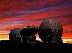 Når ALMA er ferdig utbygd vil det stå 66 slike antenner i ørkenen. (Foto: ESA)
