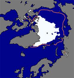 Den 4. september er det 45 prosent mindre is på Polhavet enn normalt, og Nordøstpassasjen er åpen. Den rosa linjen viser gjennomsnittlig isutbredelse på denne datoen for 1979-2000. (Foto: NSIDC)