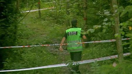 AVSPERRET: Politiet har sperret av et større område i skogholtet der likfunnet ble gjort mandag kveld. (Foto: TV 2)