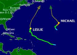 Slik ser prognosene for Michael og Leslie ut fredag 7. september. (Foto: TSR)