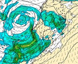 Prognosen viser hvor det vil regne mest fredag dersom Michael treffer Vestlandet. (Foto: StormGeo)