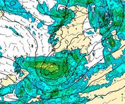 Prognosen viser hvor det vil regne mest fredag dersom Michale går inn i Skagerak. (Foto: StormGeo)