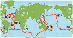 Dette er ruten HMS Challenger fulgte. (Foto: noaa.gov)