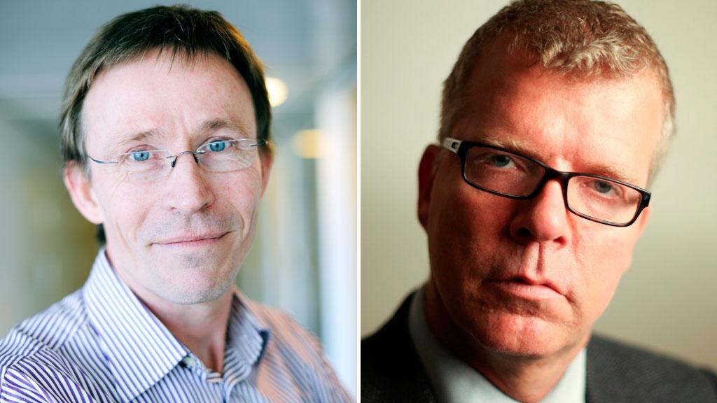 KRANGLER: Debatten mellom statssekretær Dag-Henrik Sandbakken  og programleder Jon Hustad har fortsatt etter at tv-kameraene ble slått  av. (Foto: Anne Lise Nordheim/Harde fakta)