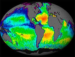 I 2011 ble Aquarius-satellitten skutt opp. Den har laget bildet over, det første som viser hvordan saltholdigheten varierer over hele kloden. (Foto: NASA)
