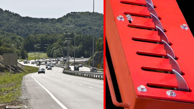 De ser dramatiske ut - men tanken er at denne boksen med stålpigger, som kan løftes opp om en sensor registrerer bilen som kjører i feil kjøreretning, skal redde liv. FOTO: TV2.no/Guardian Traffic Systems