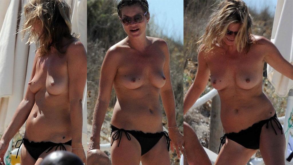 LITE SJENERT: Kate Moss hygger seg på ferie og bryr seg lite om fotografene.