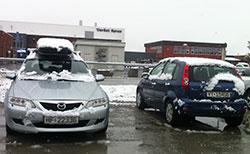 Klokken 11 er det pluss en grad på Røros, og snøen blir fort til slaps. (Foto: Tor Aage Hansen)