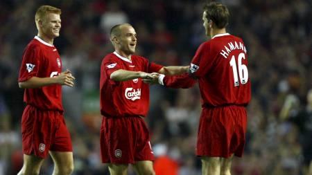 SAVNER RIISE: Dietmar Hamann mener det var en tabbe av Benitez å selge Riise i 2008. Her feirer Hamann scoring med Riise og Danny Murphy. (Foto: Mike Egerton/Pa Photos)