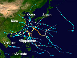 Tropiske sykloner i det vestlige Stillehav i 2012. Fargen viser hvor kraftige uværene er - rødt er kategori 5. (Foto: Wikipedia)