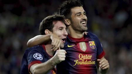 Lionel Messi og David Villa (Foto: GUSTAU NACARINO/Reuters)