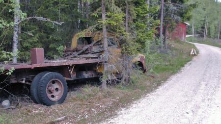 Veien har blitt bredere og bedre, og lagt seg pent til siden for den langtidsparkerte Chevroleten i løpet av årene. Om den noen gang skal flyttes kreves det litt tømmerhogst på alle fire kanter. (Foto: Tore Robert Klerud)