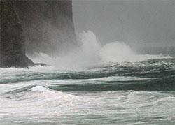 Uvær ved Stad 4. september. Kråkenes fyr målte 33. sekundmeter,   orkan. (Foto: Bjarne Eldevik)
