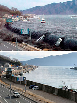 Tsunamien fosser inn i Miyako 11. mars 2011. Under er det samme området fotografert 16. januar 2012. (Foto: AFP)