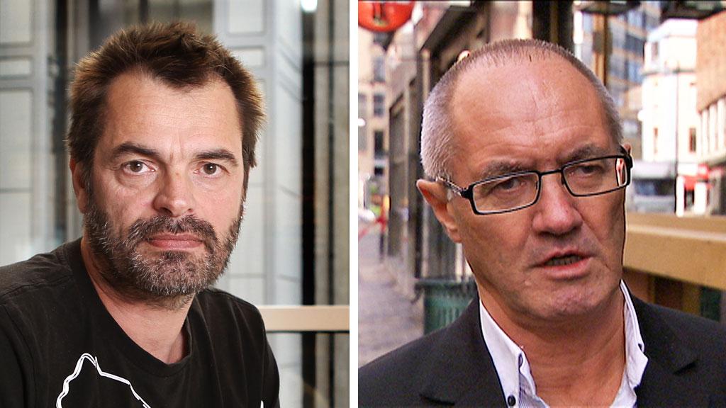 Psykolog Gjermund Nysveen (til høyre) tror helseforetakene spekulerer i at de svakeste pasientgruppene ikke bruker retten sin til å kreve behandling. Han får støtte fra pasientombud i Akershus Knut Fredrik Thorne (til venstre).  (Foto: Scanpix/Øyvind Holst - TV 2)