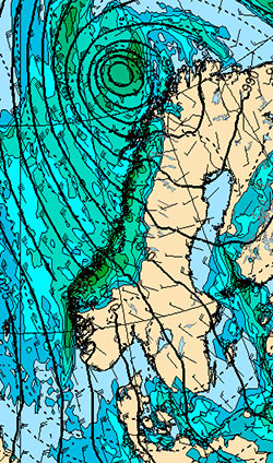 Dette er situasjonen natt til torsdag. Da ligger senteret i lavtrykket utenfor Vest-Finnmark, og det snør og sludder fra Finnmark til Rogaland. (Foto: StormGeo)