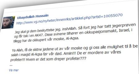 - IRONISK: Ifølge forsvarer Elden har Hussain fortalt at denne kommentaren var ment ironisk. (Foto: Skjermdump Facebook)