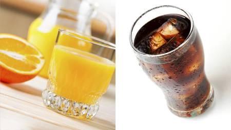 LIKE MYE SUKKER: Vann er den beste tørstedrikk. Skal du likevel drikke noe søtt kan det være greit å vite at juice og brus inneholder like mye sukker. Juice er  likevel å foretrekke da det den inneholder sunne næringsstoffer. (Foto: Colourbox / Illustrasjonsfoto/)