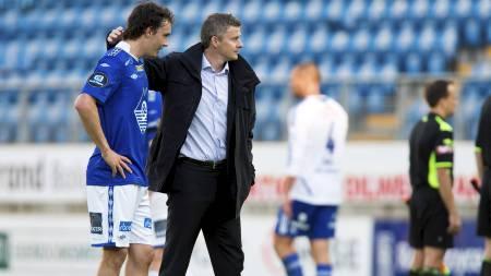 Moldes Vegard Forren (t.v.) og manager Ole Gunnar Solskjær (Foto: Ekornesvåg, Svein Ove/NTB scanpix)
